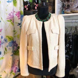 Zara Cream Textured Knit Blazer Jacket Size Medium